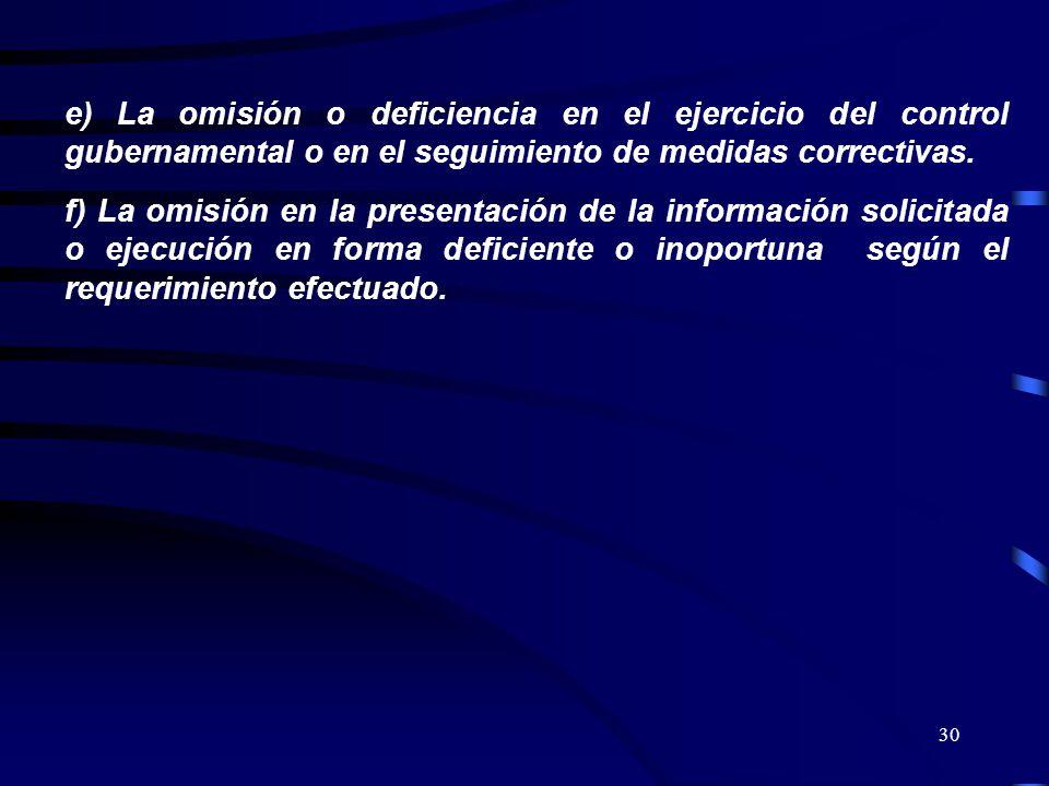 e) La omisión o deficiencia en el ejercicio del control gubernamental o en el seguimiento de medidas correctivas.