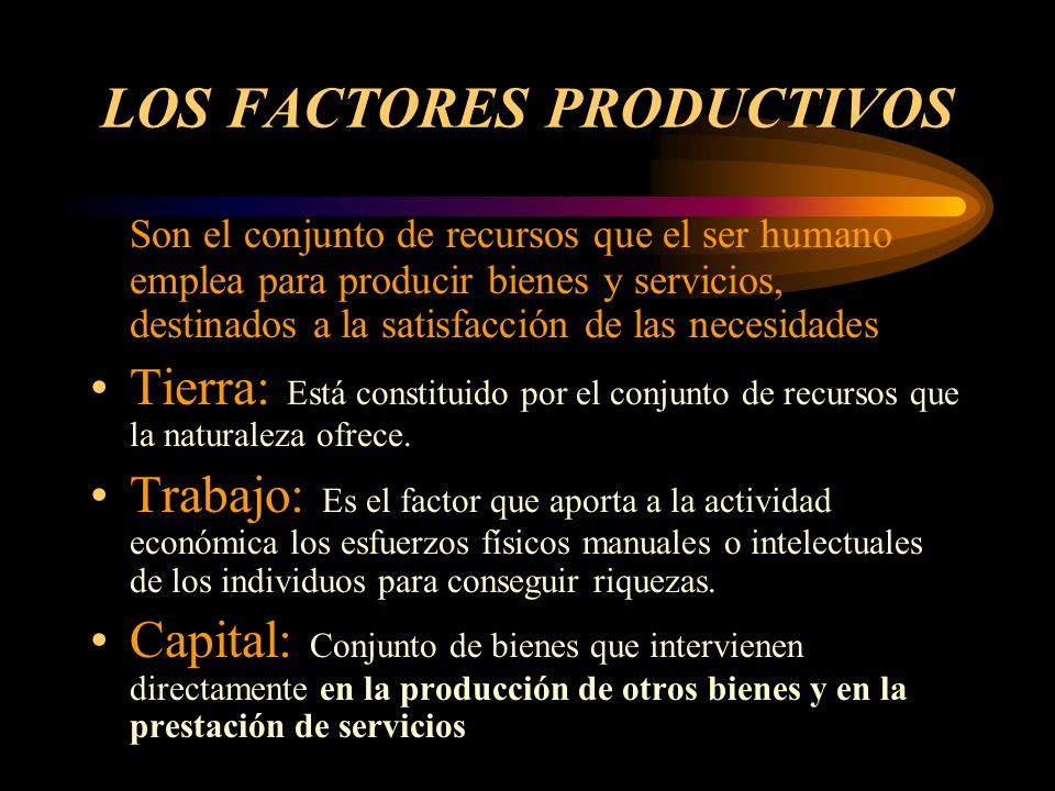 LOS FACTORES PRODUCTIVOS