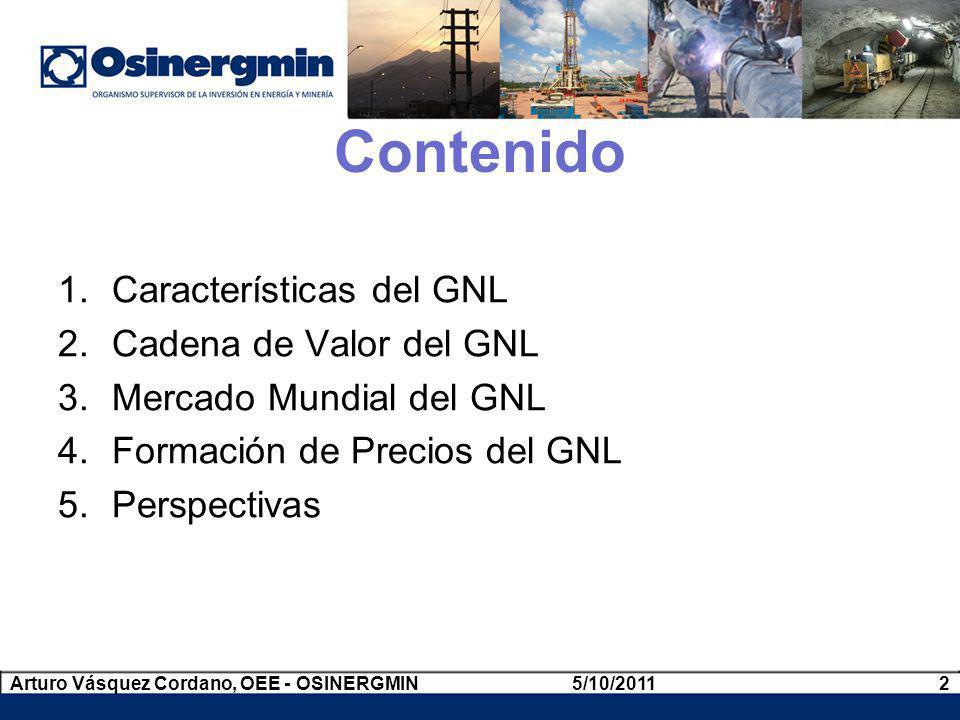 Contenido Características del GNL Cadena de Valor del GNL