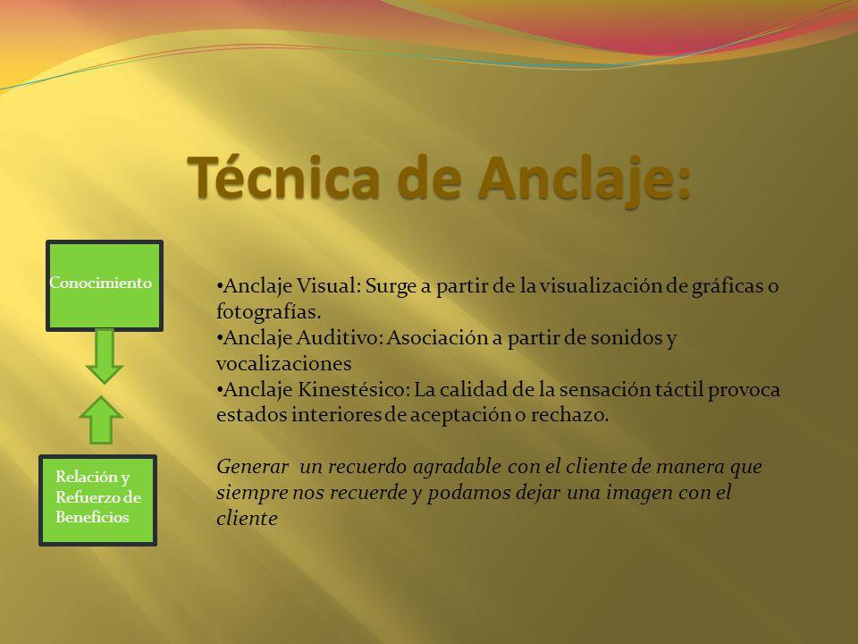 Técnica de Anclaje: Conocimiento. Anclaje Visual: Surge a partir de la visualización de gráficas o fotografías.