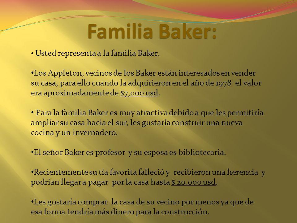 Familia Baker: Usted representa a la familia Baker.