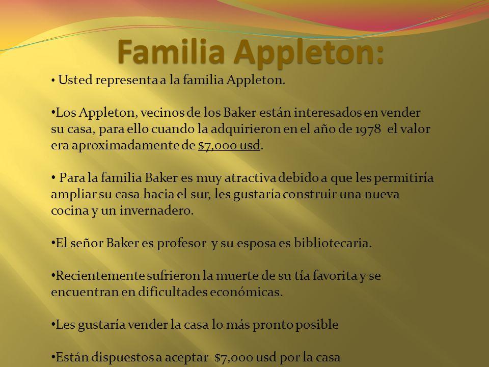 Familia Appleton: Usted representa a la familia Appleton.