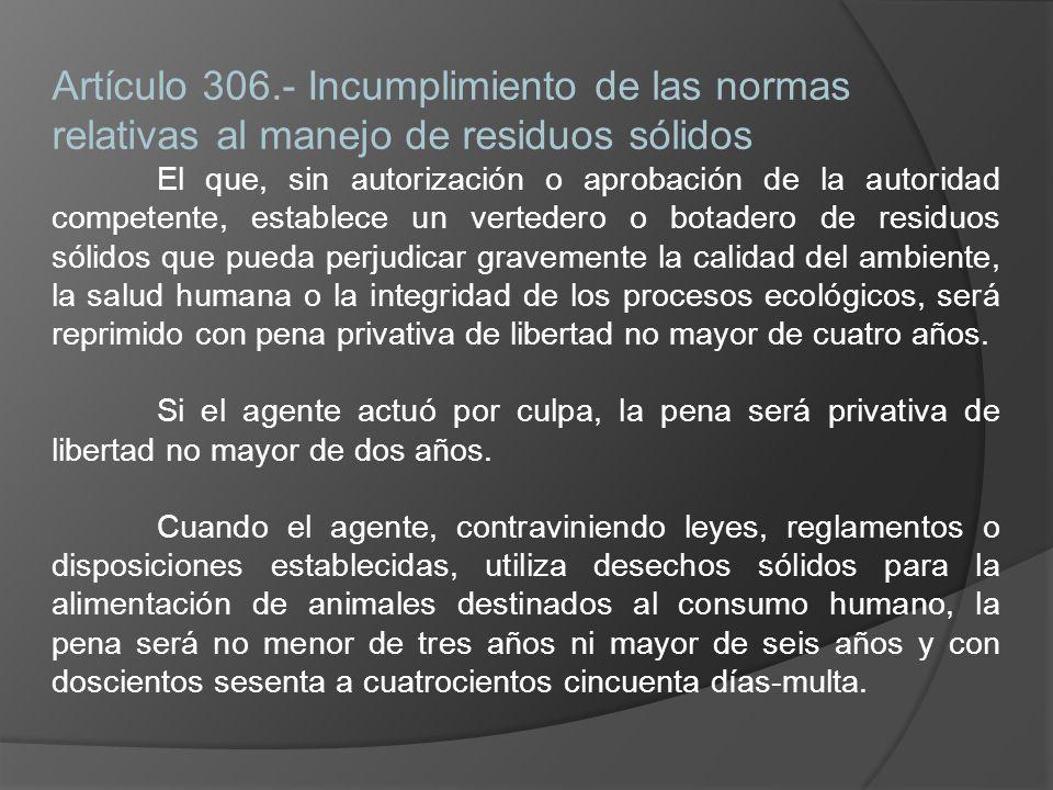 Artículo 306.- Incumplimiento de las normas relativas al manejo de residuos sólidos