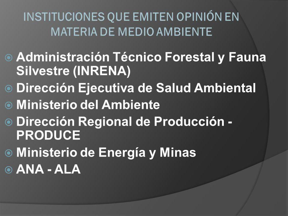 INSTITUCIONES QUE EMITEN OPINIÓN EN MATERIA DE MEDIO AMBIENTE