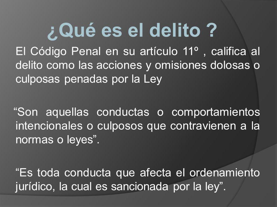 ¿Qué es el delito El Código Penal en su artículo 11º , califica al delito como las acciones y omisiones dolosas o culposas penadas por la Ley.