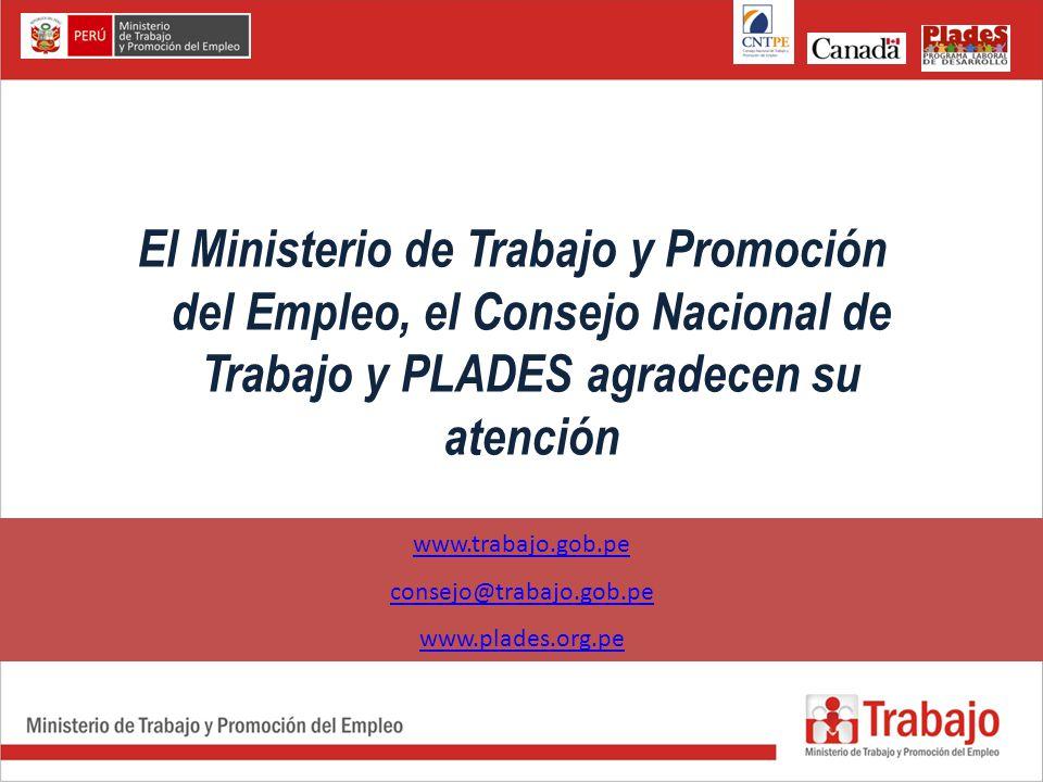 El Ministerio de Trabajo y Promoción del Empleo, el Consejo Nacional de Trabajo y PLADES agradecen su atención