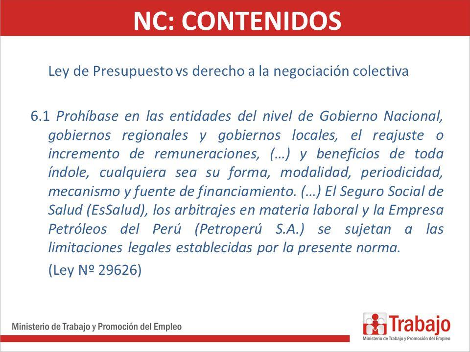 NC: CONTENIDOS Ley de Presupuesto vs derecho a la negociación colectiva.