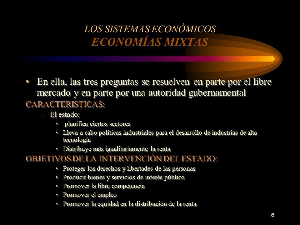 LOS SISTEMAS ECONÓMICOS ECONOMÍAS MIXTAS