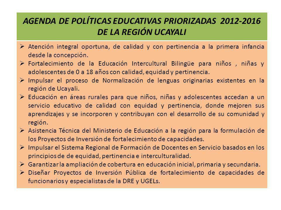 AGENDA DE POLÍTICAS EDUCATIVAS PRIORIZADAS 2012-2016 DE LA REGIÓN UCAYALI
