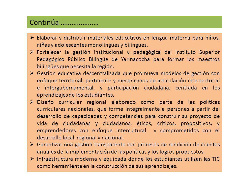 Continúa ………………… Elaborar y distribuir materiales educativos en lengua materna para niños, niñas y adolescentes monolingües y bilingües.