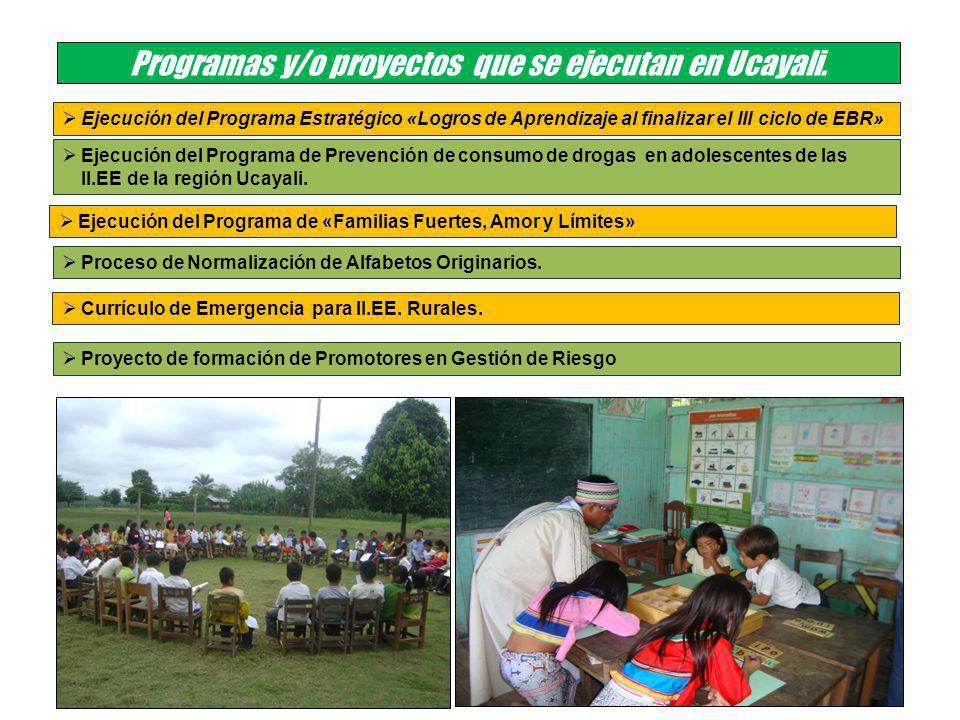 Programas y/o proyectos que se ejecutan en Ucayali.