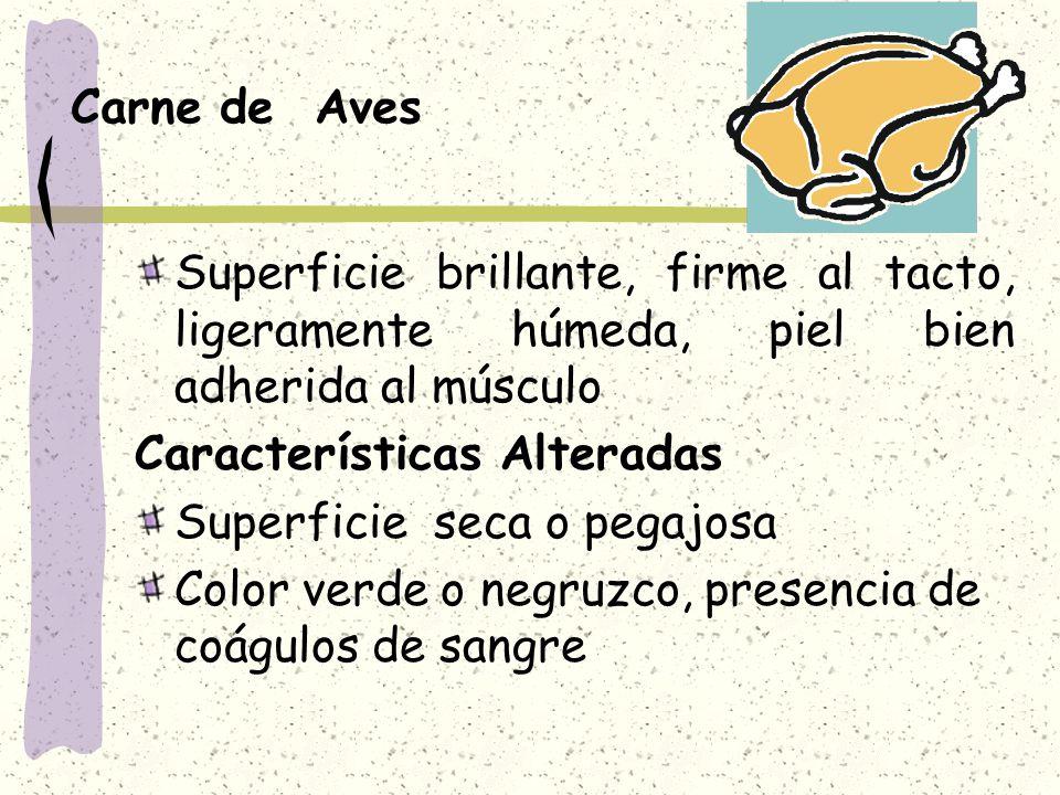 Carne de Aves Superficie brillante, firme al tacto, ligeramente húmeda, piel bien adherida al músculo.
