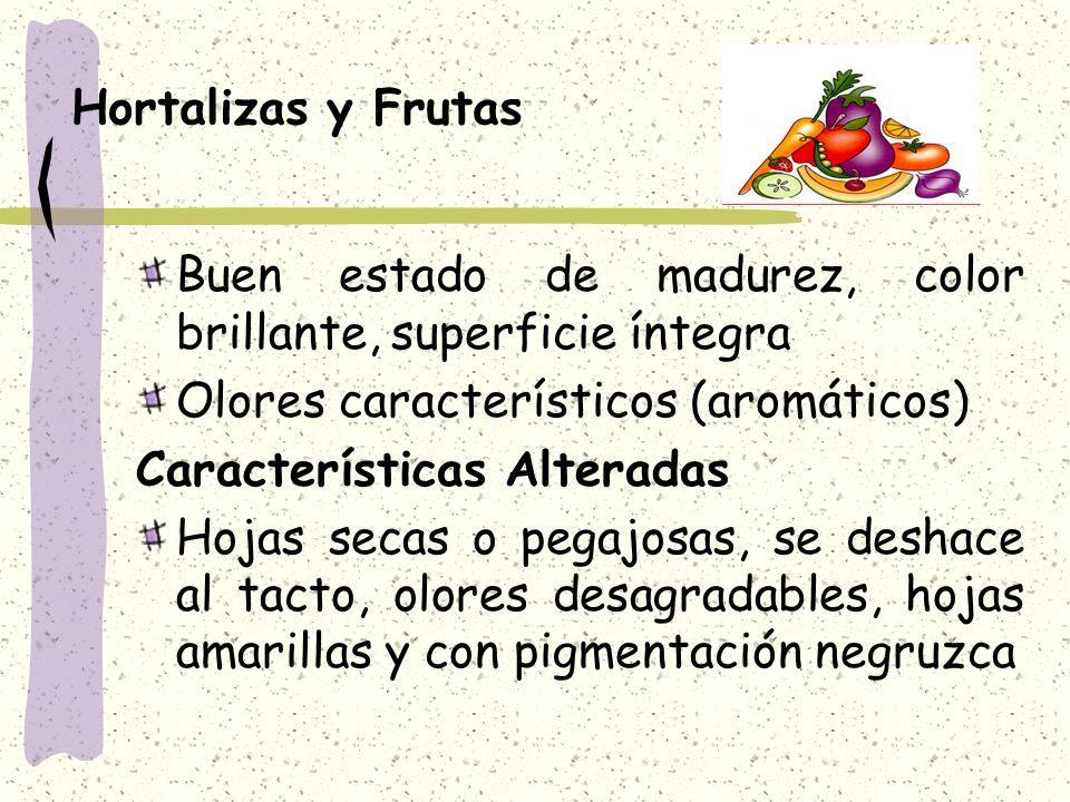 Hortalizas y Frutas Buen estado de madurez, color brillante, superficie íntegra. Olores característicos (aromáticos)
