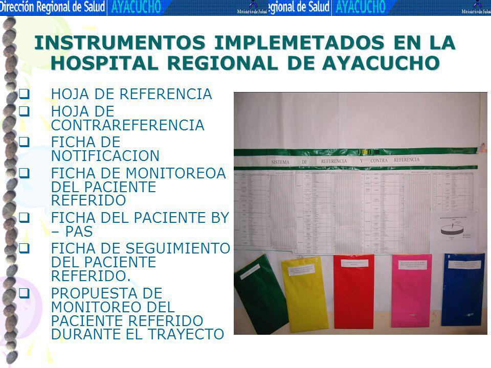 INSTRUMENTOS IMPLEMETADOS EN LA HOSPITAL REGIONAL DE AYACUCHO