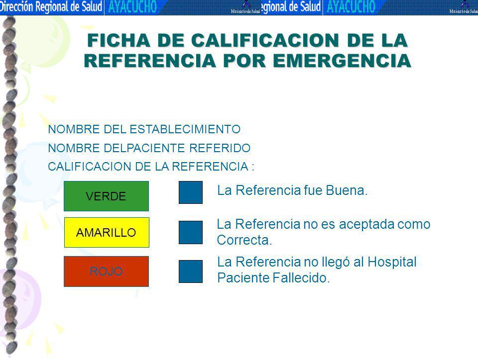 FICHA DE CALIFICACION DE LA REFERENCIA POR EMERGENCIA