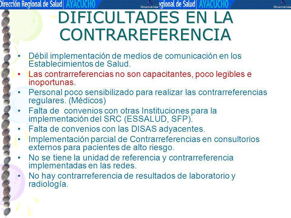DIFICULTADES EN LA CONTRAREFERENCIA
