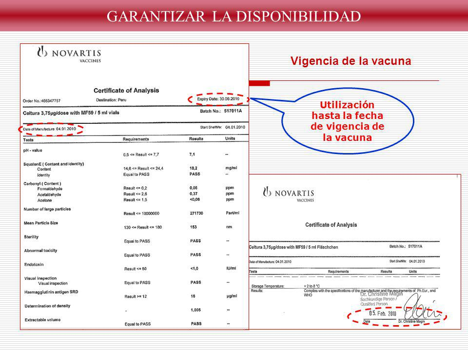 Utilización hasta la fecha de vigencia de la vacuna