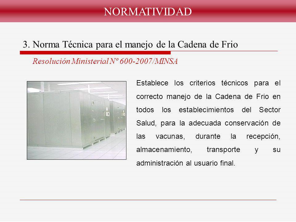 NORMATIVIDAD 3. Norma Técnica para el manejo de la Cadena de Frio