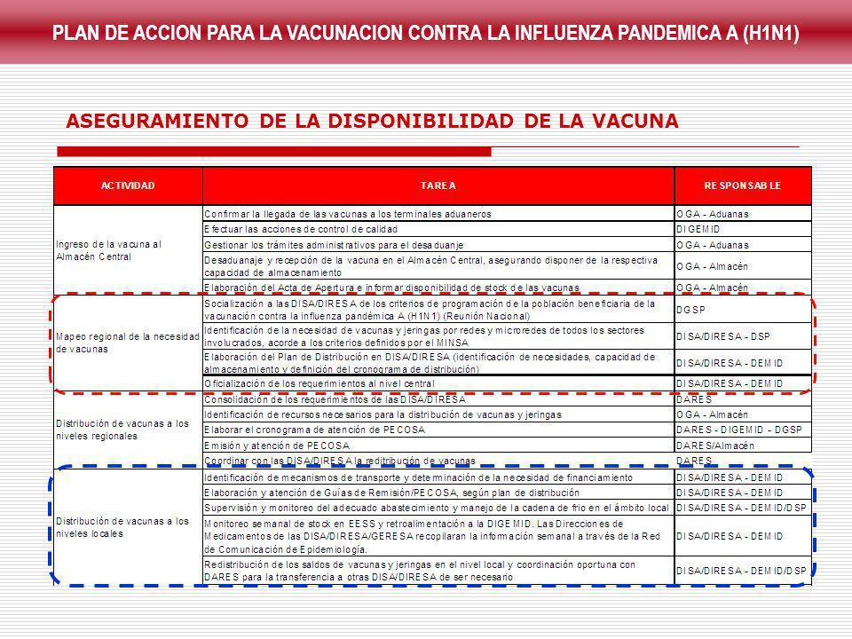 PLAN DE ACCION PARA LA VACUNACION CONTRA LA INFLUENZA PANDEMICA A (H1N1)