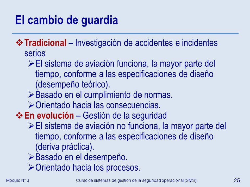 El cambio de guardia Tradicional – Investigación de accidentes e incidentes serios.