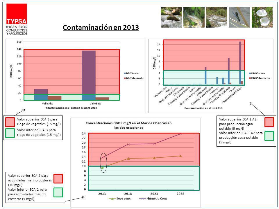 Contaminación en 2013 Valor superior ECA 1 A2 para producción agua potable (5 mg/l) Valor inferior ECA 1 A2 para producción agua potable (5 mg/l)