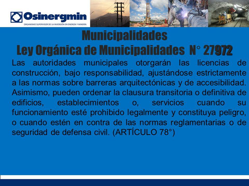 Municipalidades Ley Orgánica de Municipalidades N° 27972