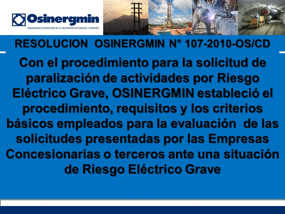 RESOLUCION OSINERGMIN N° 107-2010-OS/CD