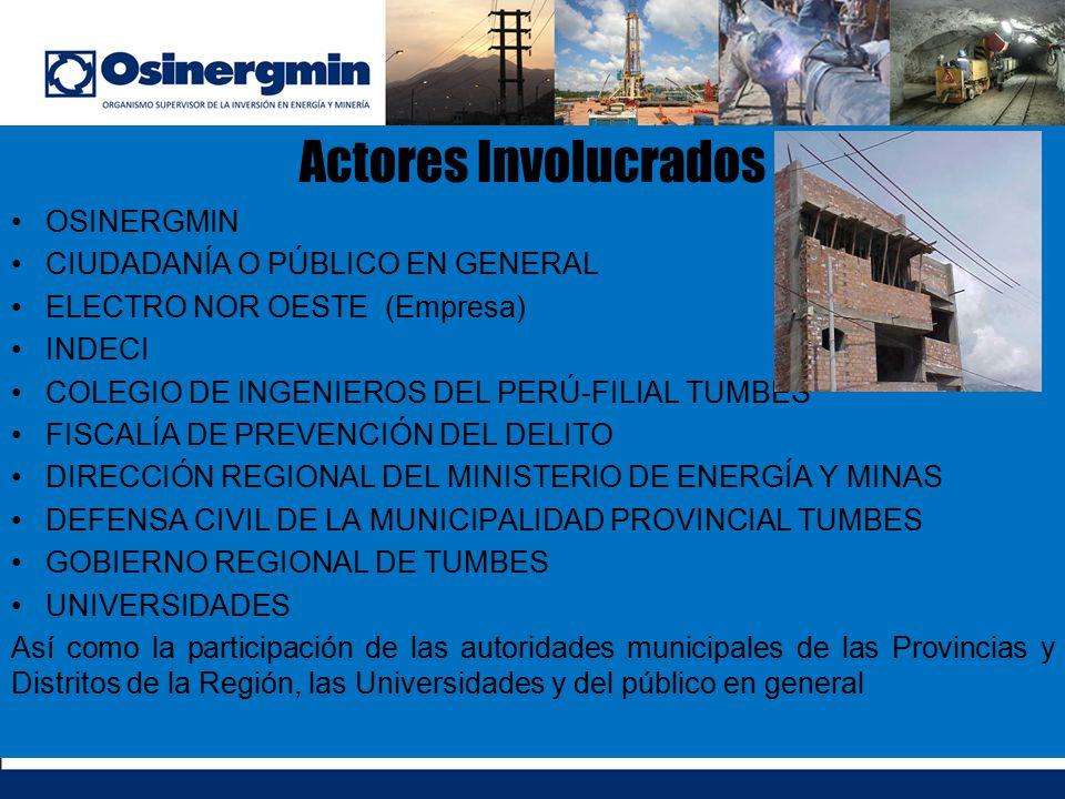 Actores Involucrados OSINERGMIN CIUDADANÍA O PÚBLICO EN GENERAL