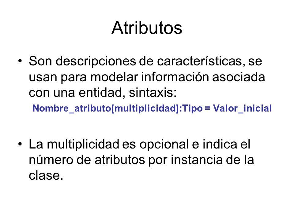 Atributos Son descripciones de características, se usan para modelar información asociada con una entidad, sintaxis: