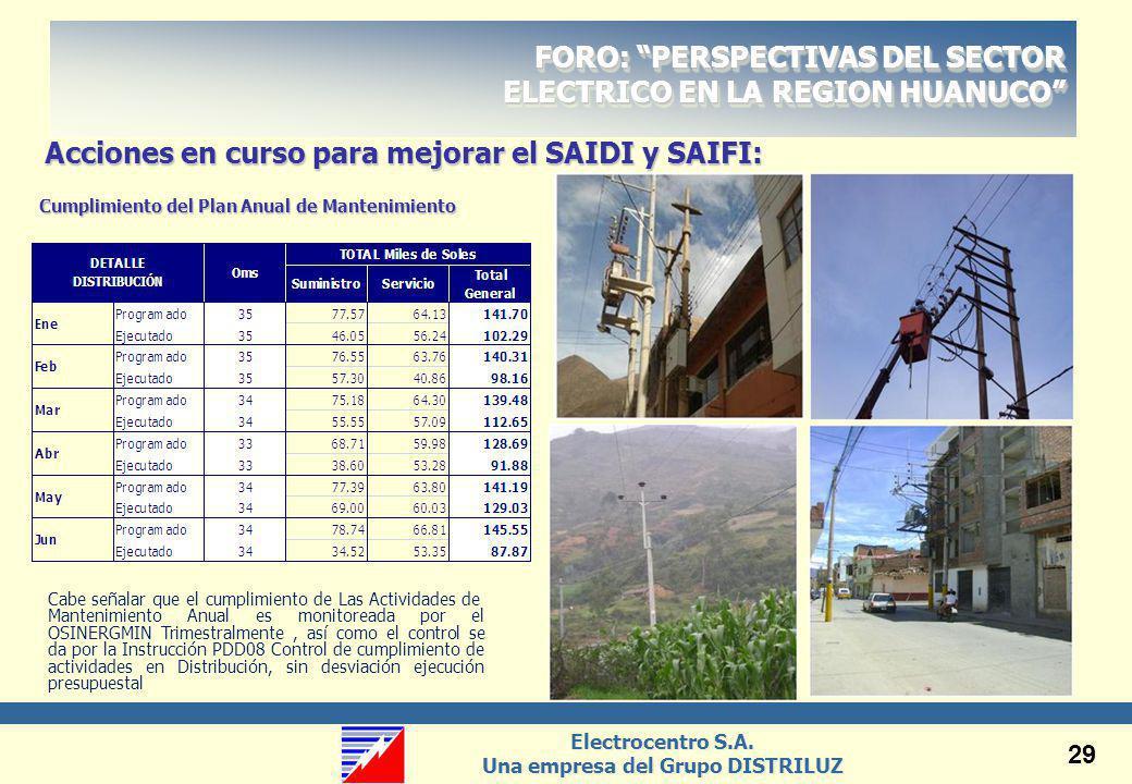 Acciones en curso para mejorar el SAIDI y SAIFI: