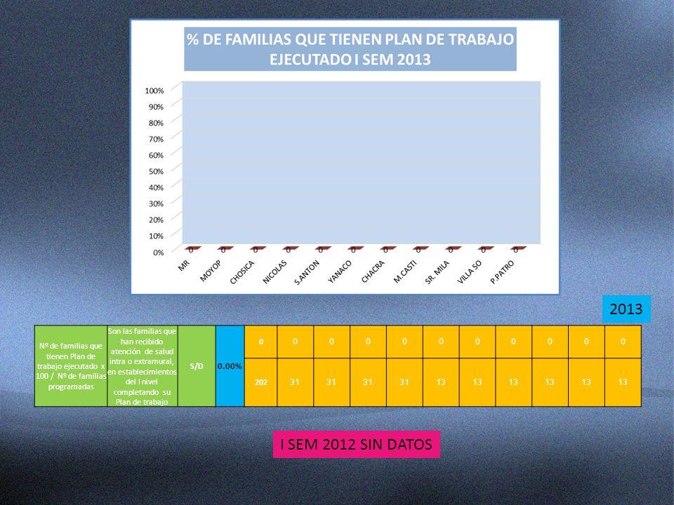 2013 Nº de familias que tienen Plan de trabajo ejecutado x 100 / Nº de familias programadas.