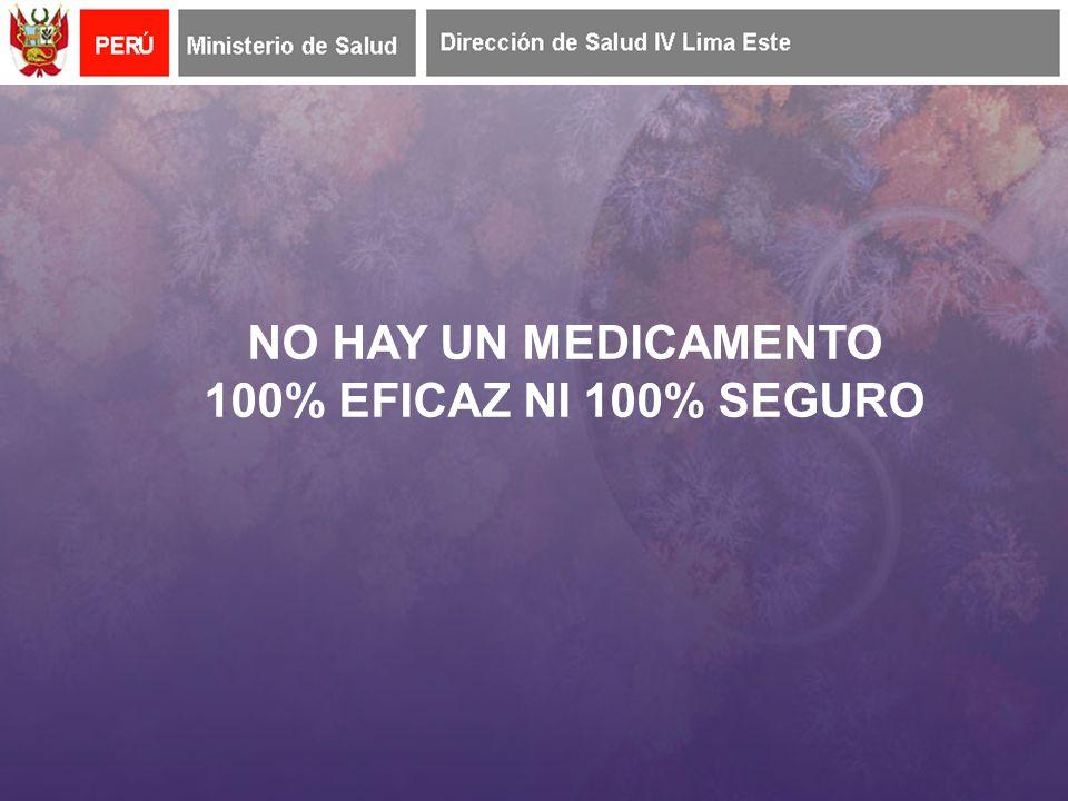 NO HAY UN MEDICAMENTO 100% EFICAZ NI 100% SEGURO
