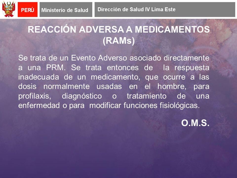 REACCIÓN ADVERSA A MEDICAMENTOS (RAMs)