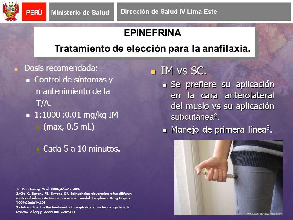 Tratamiento de elección para la anafilaxia.