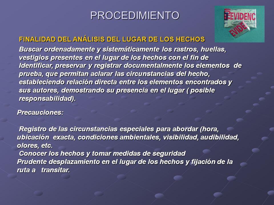 PROCEDIMIENTO FINALIDAD DEL ANÁLISIS DEL LUGAR DE LOS HECHOS