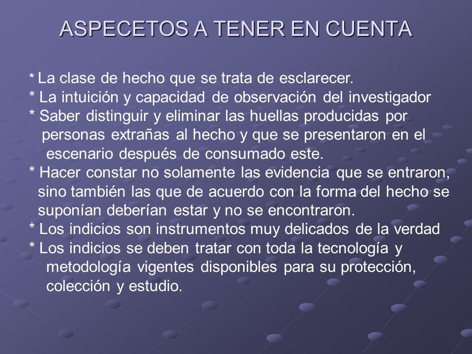ASPECETOS A TENER EN CUENTA