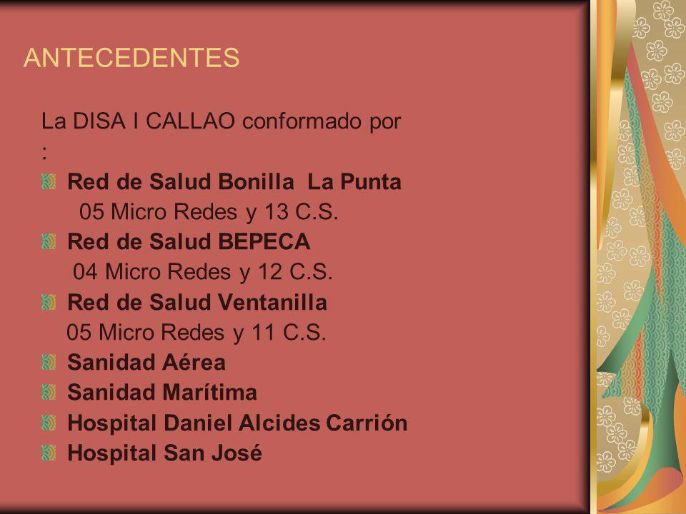 ANTECEDENTES La DISA I CALLAO conformado por :