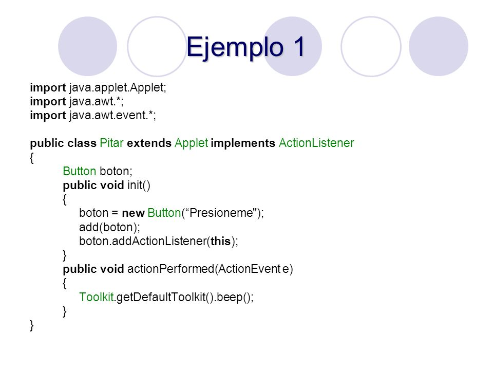 Ejemplo 1 import java.applet.Applet; import java.awt.*;