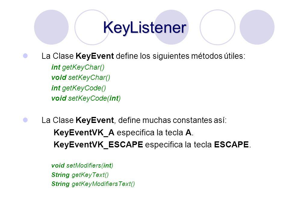 KeyListener KeyEventVK_A especifica la tecla A.