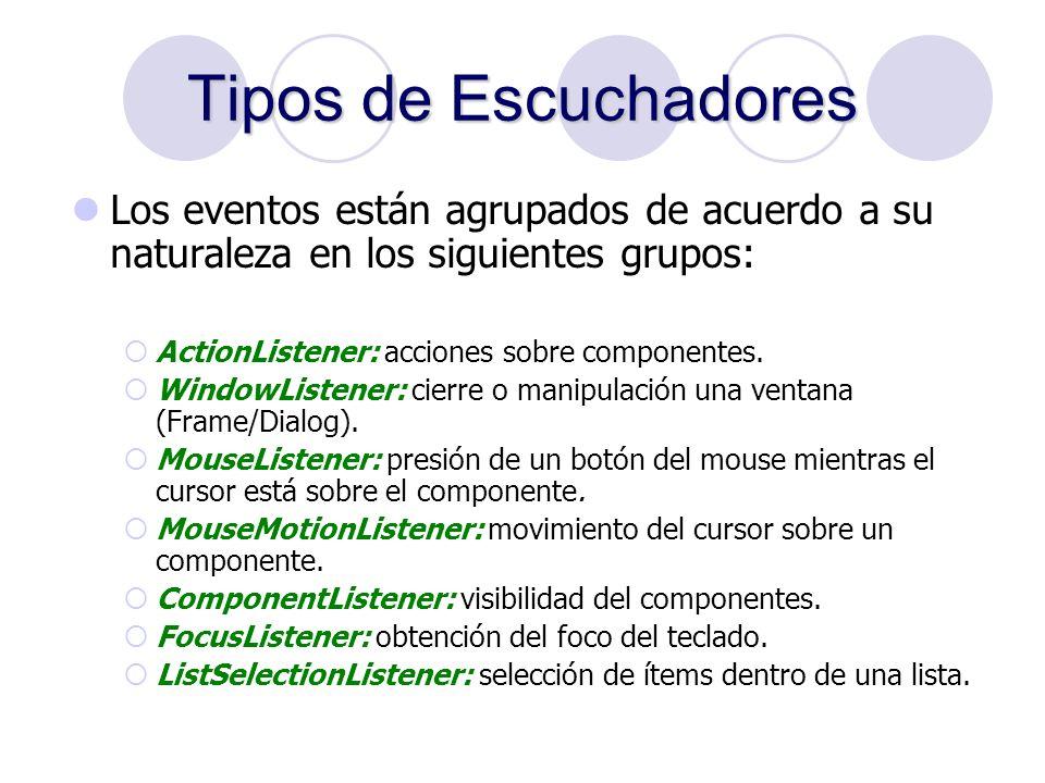 Tipos de Escuchadores Los eventos están agrupados de acuerdo a su naturaleza en los siguientes grupos: