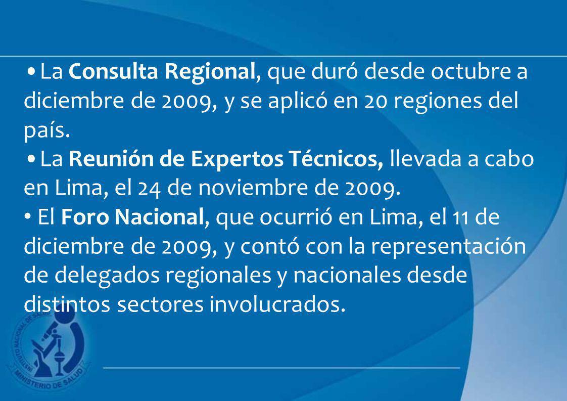 La Consulta Regional, que duró desde octubre a diciembre de 2009, y se aplicó en 20 regiones del país.
