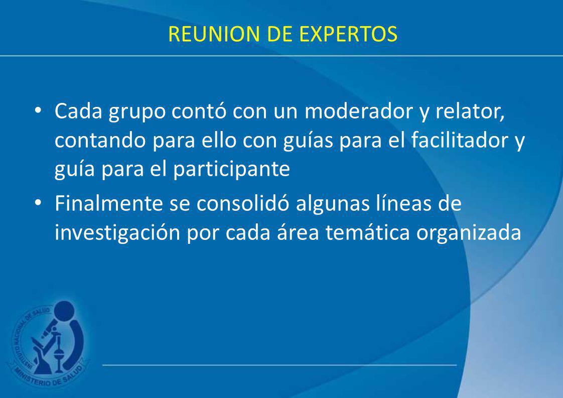 REUNION DE EXPERTOS Cada grupo contó con un moderador y relator, contando para ello con guías para el facilitador y guía para el participante.