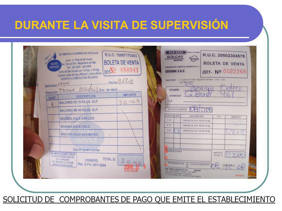 DURANTE LA VISITA DE SUPERVISIÓN