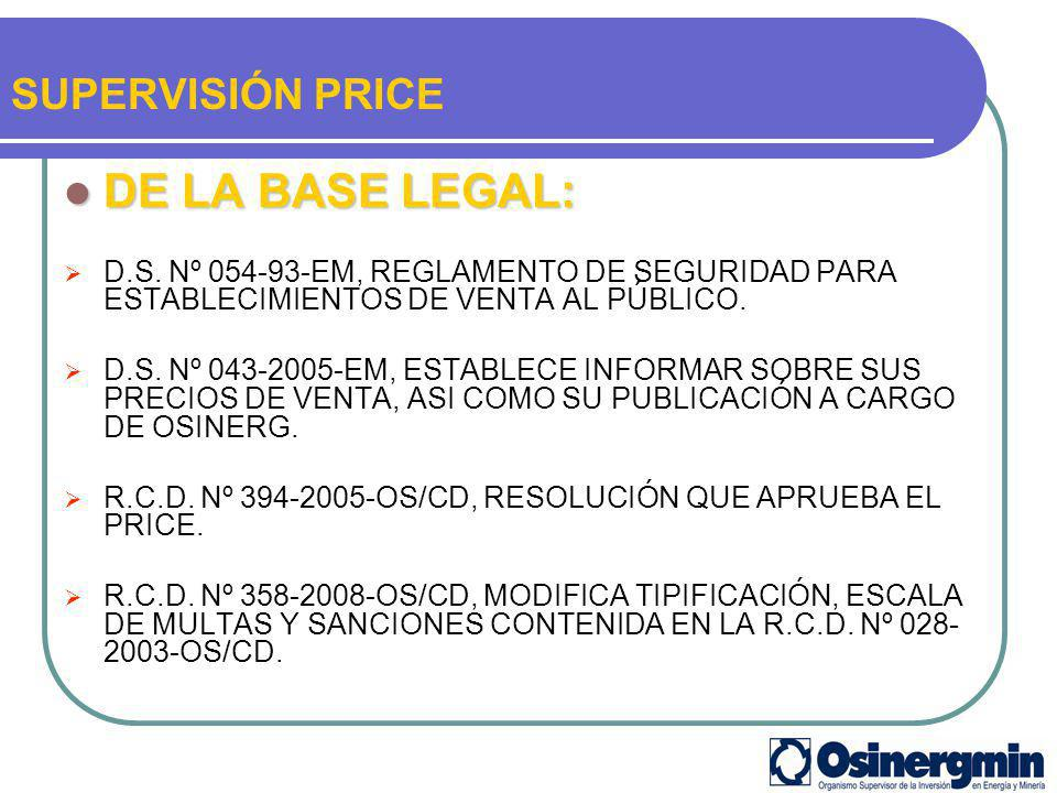 DE LA BASE LEGAL: SUPERVISIÓN PRICE