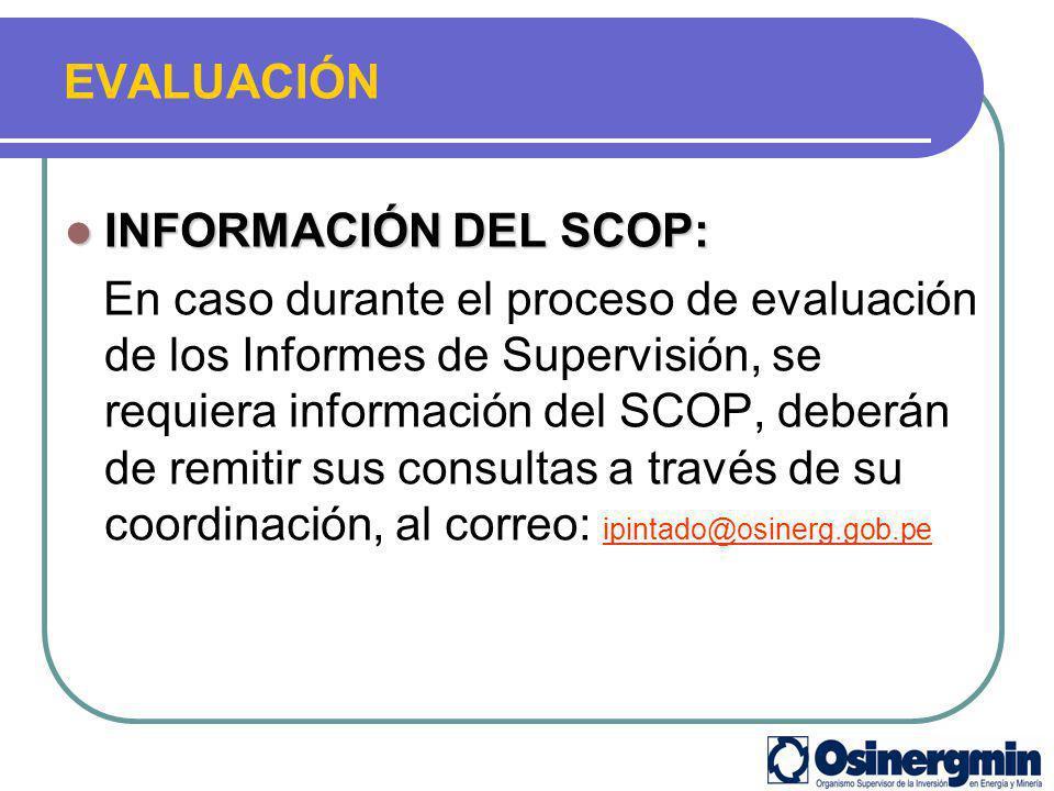 EVALUACIÓN INFORMACIÓN DEL SCOP: