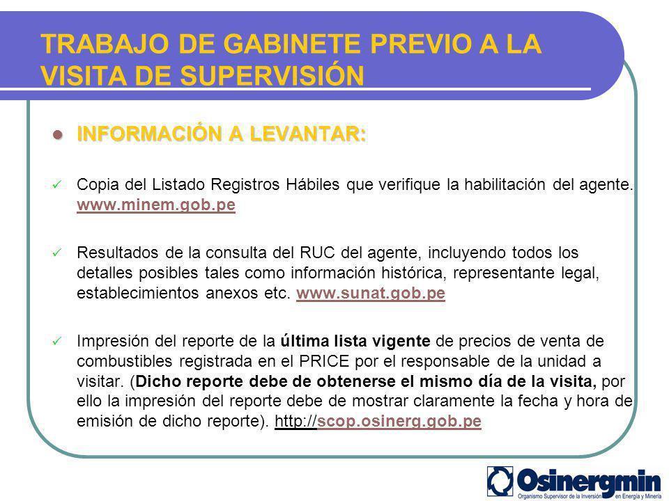 TRABAJO DE GABINETE PREVIO A LA VISITA DE SUPERVISIÓN