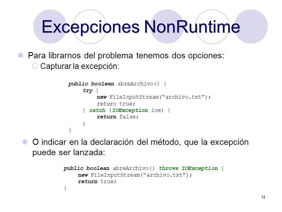 Excepciones NonRuntime