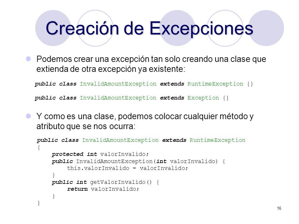 Creación de Excepciones