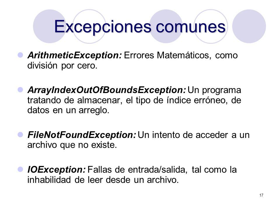 Excepciones comunes ArithmeticException: Errores Matemáticos, como división por cero.