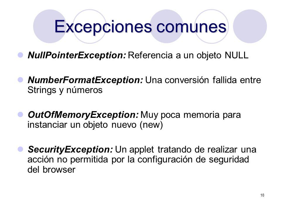 Excepciones comunes NullPointerException: Referencia a un objeto NULL